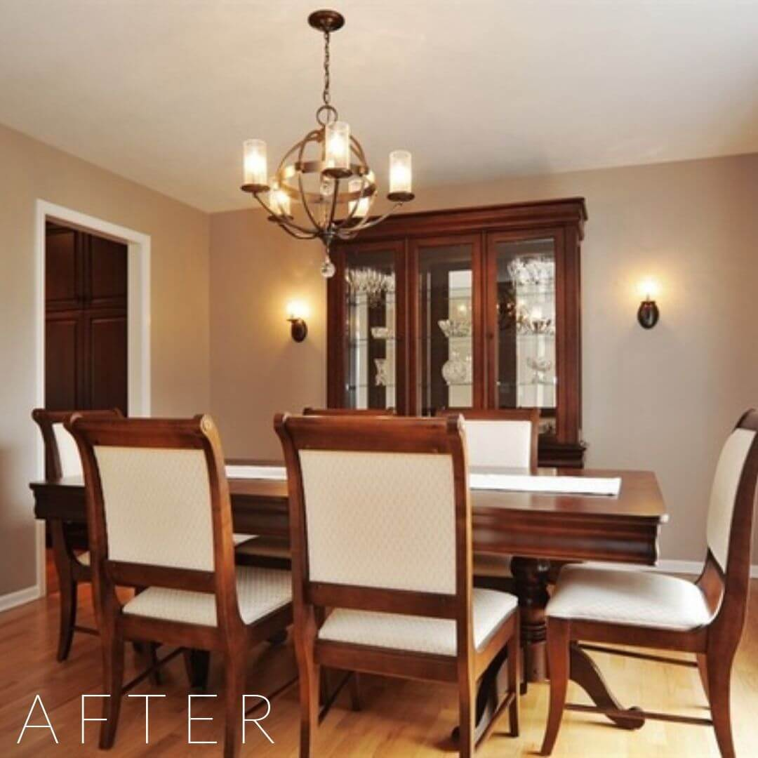 home staging services, home styling services, dining room table, dining room chairs, china cabinet