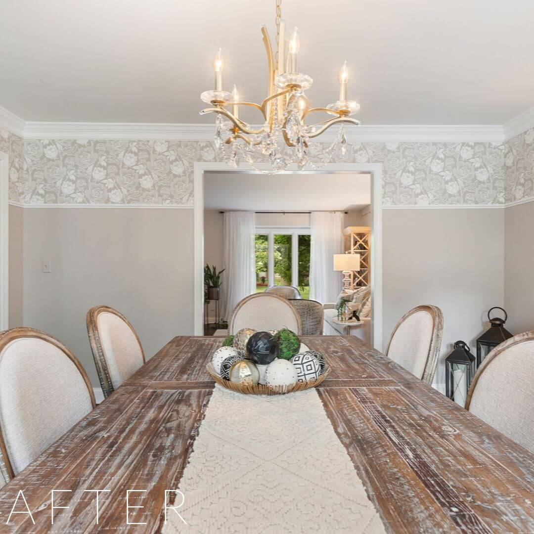 interior design services, dining room table, dining room chairs, chandelier